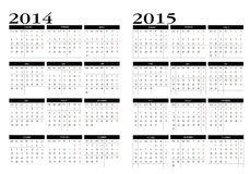 Calendar 2014-2015. New calendar 2014-2015 in english stock illustration