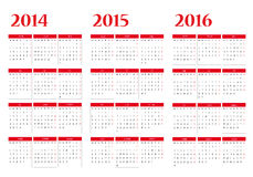 Calendar 2014-2015-2016 Royalty Free Stock Photos