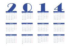 Calendar 2014. New calendar 2014 in english stock illustration
