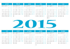 2015 calendar. New calendar 2015 in english Royalty Free Illustration