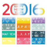2016 calendar. In a  new minimalistic lettering style with horizontally elongated typography. Names of the months and the wish for a happy new year are included Stock Images