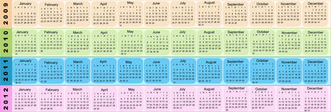 Calendar, New Year 2009, 2010, 2011, 2012. In four colors vector illustration