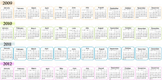Calendar, New Year 2009, 2010, 2011, 2012. Vector illustration of  Calendar for 2009 2010  2011 2012 Stock Photo