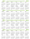 Calendar, New Year  2013, 2014, 2015, 2016. Calendar New Year  2013 2014 2015 2016 with green lines Stock Images