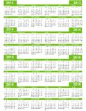 Calendar, New Year  2013, 2014, 2015, 2016. Calendar for New Year  2013  2014 2015 2016 with green lines Stock Photography