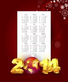 Calendar for 2014 with New Year background Stock Photography