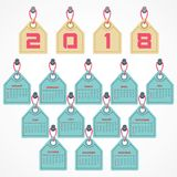 2018 Calendar for new year celebration Stock Photos
