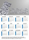 Calendar new year 2018, dog year.Vector white paper.doodles floral pattern.place for your text, logo. Vector illustration stock illustration