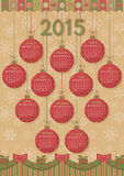Calendar 2015 New Year. Funny background with Christmas balls, garlands and gifts shaped. Vector illustration. Easily edited vector format for your project Royalty Free Stock Photography