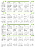 Calendar New Year   2014 2015 2016 2017. With green lines Royalty Free Stock Photos