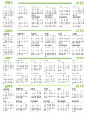 Calendar New Year   2015 2016  2017   2018 Stock Image