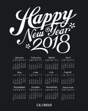 Calendar new year 2018, message black and white Royalty Free Stock Photo