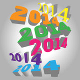 2014 calendar new year number 3D set Royalty Free Stock Image