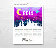 Calendar new year travel thailand with silhouette landmark Stock Photography
