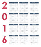Calendar 2016 New Year. Vector Illustration. 2016 New Year Calendar Vector Illustration EPS10 Stock Photos