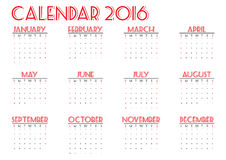 Calendar 2016 new year on white background, Week start Sunday, happy color,  illustration Stock Photography