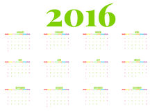 Calendar 2016 new year on white background, Week start Sunday, happy color,  illustration Royalty Free Stock Photos