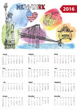 Calendar 2016. New York symbols. Calendar 2016 New year.New York.American symbols Statue of Liberty,Brooklyn Bridge, flag,taxi.Doodle hand drawn sketch Stock Illustration