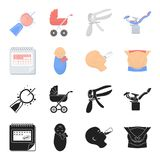 Calendar, newborn, stomach massage, artificial feeding. Pregnancy set collection icons in black,cartoon style vector. Symbol stock illustration Royalty Free Stock Images
