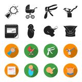 Calendar, newborn, stomach massage, artificial feeding. Pregnancy set collection icons in black,flet style vector symbol. Stock illustration Royalty Free Stock Photography