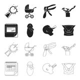 Calendar, newborn, stomach massage, artificial feeding. Pregnancy set collection icons in black,outline style vector. Symbol stock illustration Royalty Free Stock Photos