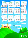 Calendar  of next year. With country and country in the background. English language Royalty Free Stock Photos