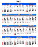 Calendar for next 2015 year with blue ribbon. Office calendar for next 2015 year on white background royalty free illustration