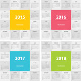 Calendar for next year modern flat design Stock Images