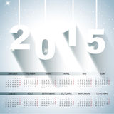 20151 calendar. A nice and snowy calendar for the year 2015, in french Stock Photo