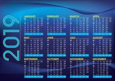 2019 calendar night mood colour royalty free illustration