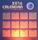 Calendar 2016 night sky and moon background design template. With Set of 12 Months Can be used for office object, new year,company,business,holiday or planner Royalty Free Illustration