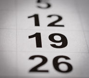 Calendar nineteen number Stock Photography