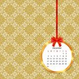 Calendar 2017 no quadro dourado do círculo com curva vermelha no teste padrão sem emenda da decoração do vintage ilustração stock