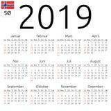 Calendar 2019, Norwegian, Sunday. Simple annual 2019 year wall calendar. Norwegian language. Week starts on Sunday. Highlighted Sunday, no holidays. EPS 8 vector Royalty Free Stock Image