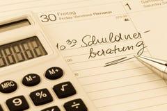Calendar note debt Royalty Free Stock Photo