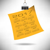 A 2017 Calendar Note Hung by a Binder Clip. For Print or Web Royalty Free Stock Photography
