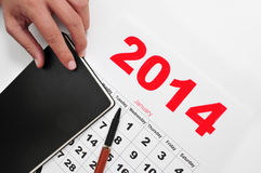 2014 calendar and notebook Stock Images