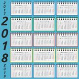 Notepad calendar, 2018 year. Calendar in notepad for 2018 year, part 2017 and 2019 by seasons. Week starts on Sunday. Time, planning and schedule concept. Flat Royalty Free Stock Image