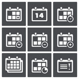Calendar with notes icon set Royalty Free Stock Photography