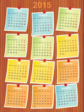 Calendar 2015 on notes. Pinned to wood Royalty Free Stock Photos