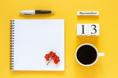 Free Calendar November 13 Cup Of Coffee, Notepad With Pen And Yellow Leaf On Yellow Background Royalty Free Stock Photo - 127859275