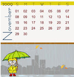 Calendar - November 2009. Page of november calendar 2009, with a little autumn scene where we can see a little girl under rain with an umbrella and a yellow Stock Illustration