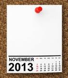 Calendar November 2013 Stock Photo