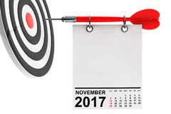 Calendar November 2017 with target. 3d Rendering. Calendar November 2017 on blank note paper with free space for your text with target. 3d Rendering Royalty Free Stock Photos