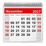 Calendar - November 2017. This is a 3d rendered computer generated image. Isolated on white vector illustration