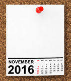 Calendar November 2016. 3d Rendering. Calendar November 2016 on blank note paper with free space for your text.3d Rendering Stock Images