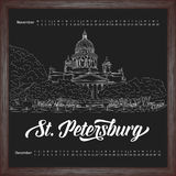 Calendar 2017 november, december with city sketching Saint Petersburg, Russia on chalkboard background. Vector illustration for your design Royalty Free Stock Images