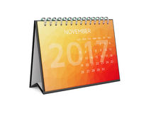 Calendar for 2017 november. Desktop colorful modern flat design calendar for 2017 november year isolated on white background. 3d rendering illustration Royalty Free Stock Images