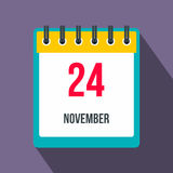 Calendar november 24 flat icon with shadow. On the background Royalty Free Stock Photography