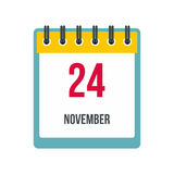 Calendar november 24 icon. In flat style  on white background Royalty Free Stock Image